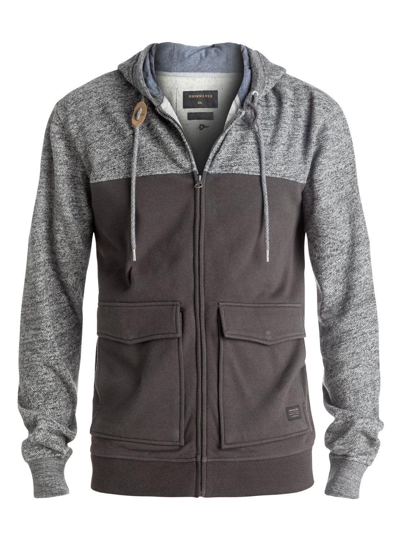 Quiksilver Men's Civil Aire Zip Fleece Top, Dark Grey Heather, Large