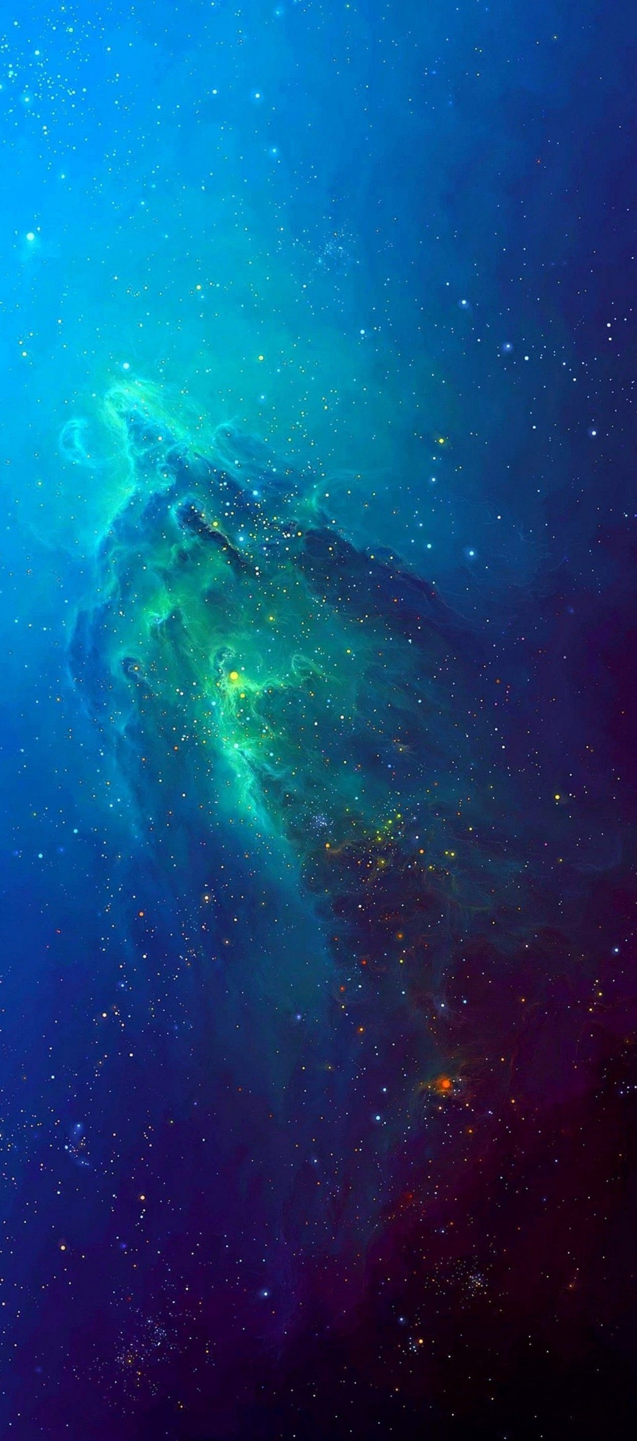 iOS 11, iPhone X, stars, space, blue, aqua, abstract ...