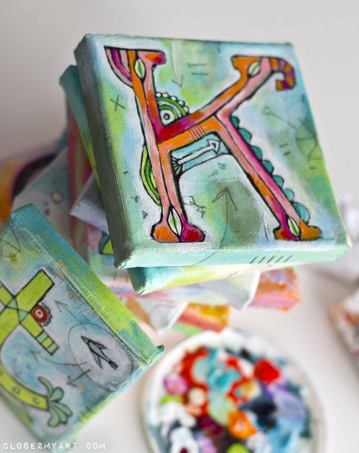 Letter K Collection Monogram Art Monogram Art Art Camp Projects Canvas Designs