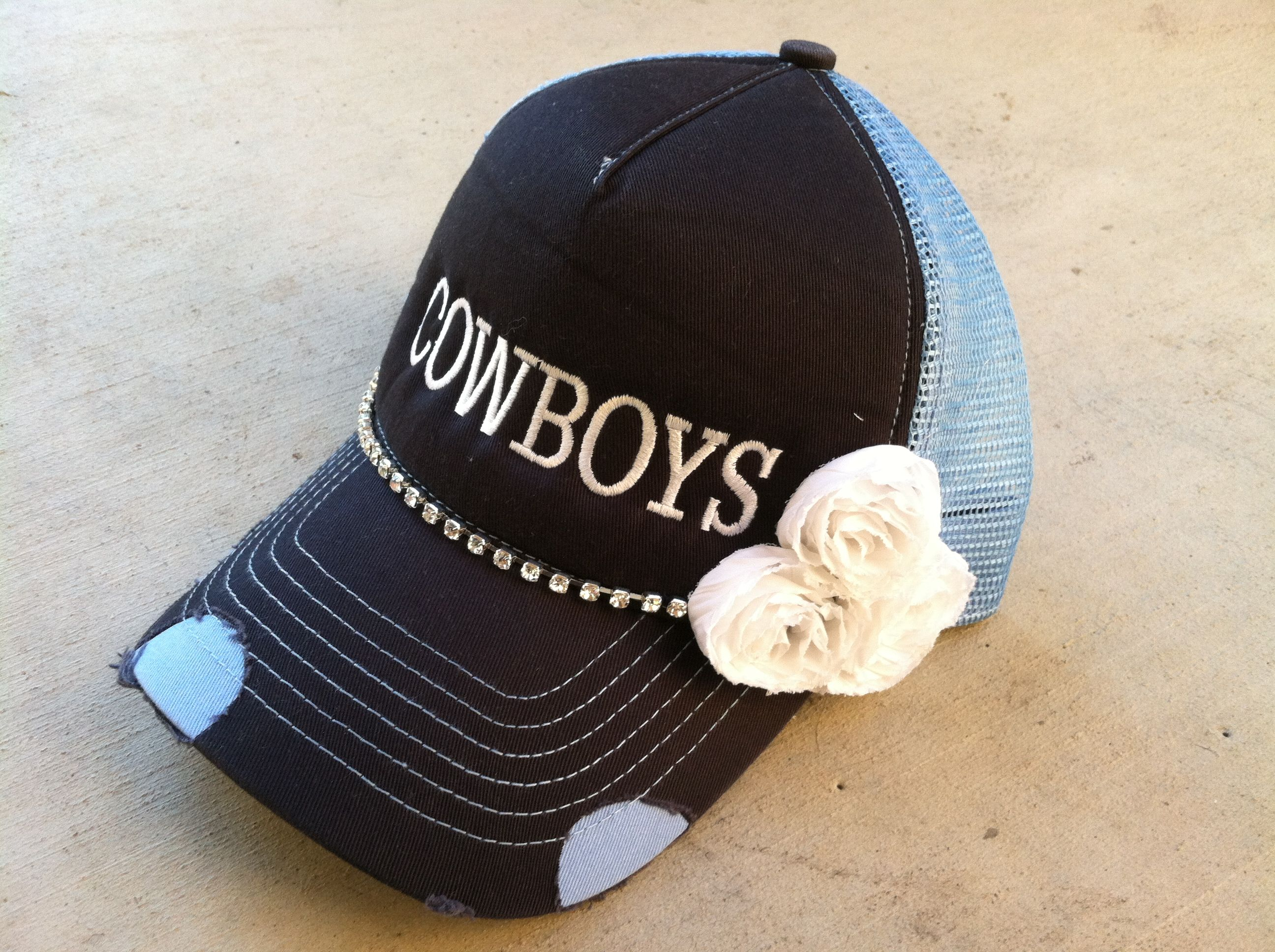 Custom cowboys trucker hat with bling   flowers. Any team or school  available! www.morethanahat.com 488c20e61c5