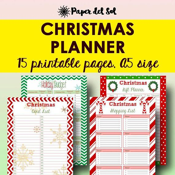 Christmas Planner Printable A5, 2017 Holiday Planner A5, 2017 - christmas preparation checklist