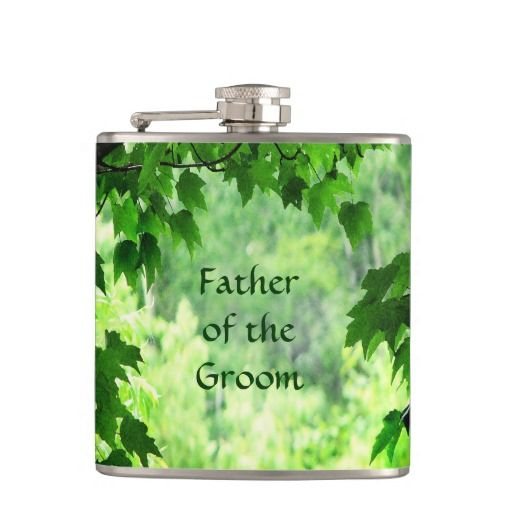Leafy Wedding Father of the Groom Hip Flasks