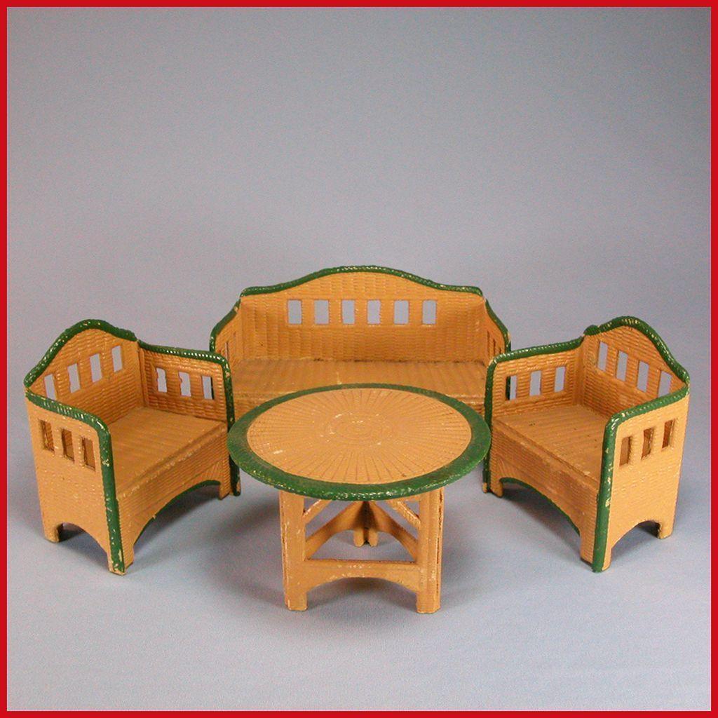 dollhouse outdoor furniture. German Dollhouse Korbi Wicker Garden Furniture 4 Pc. Set By Karl Schreiter 1920s - 1930s Outdoor U