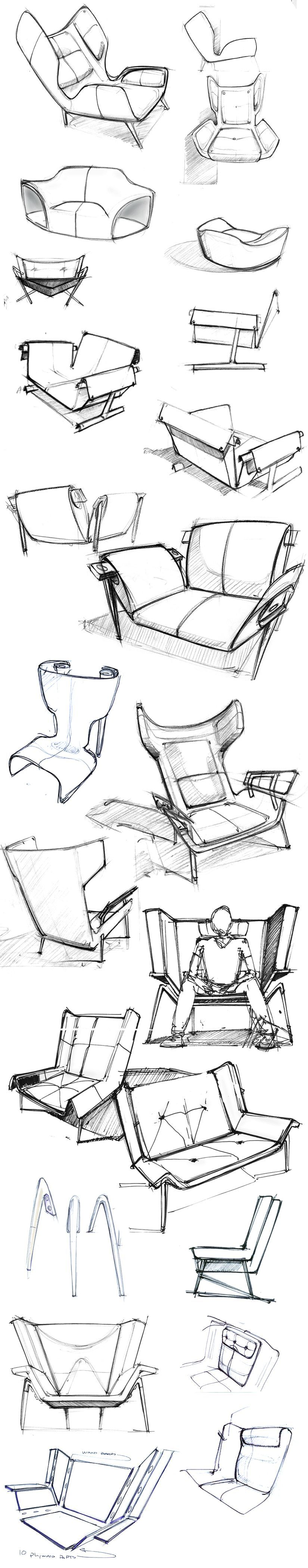sketches of the Deca Lounge Chair by Larry Parker pinterest