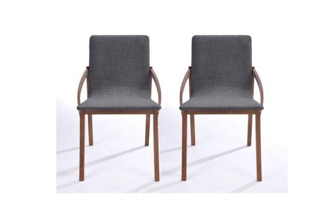 Chaise design bois et tissu gris lot de 2 KARO prix promo Miliboo