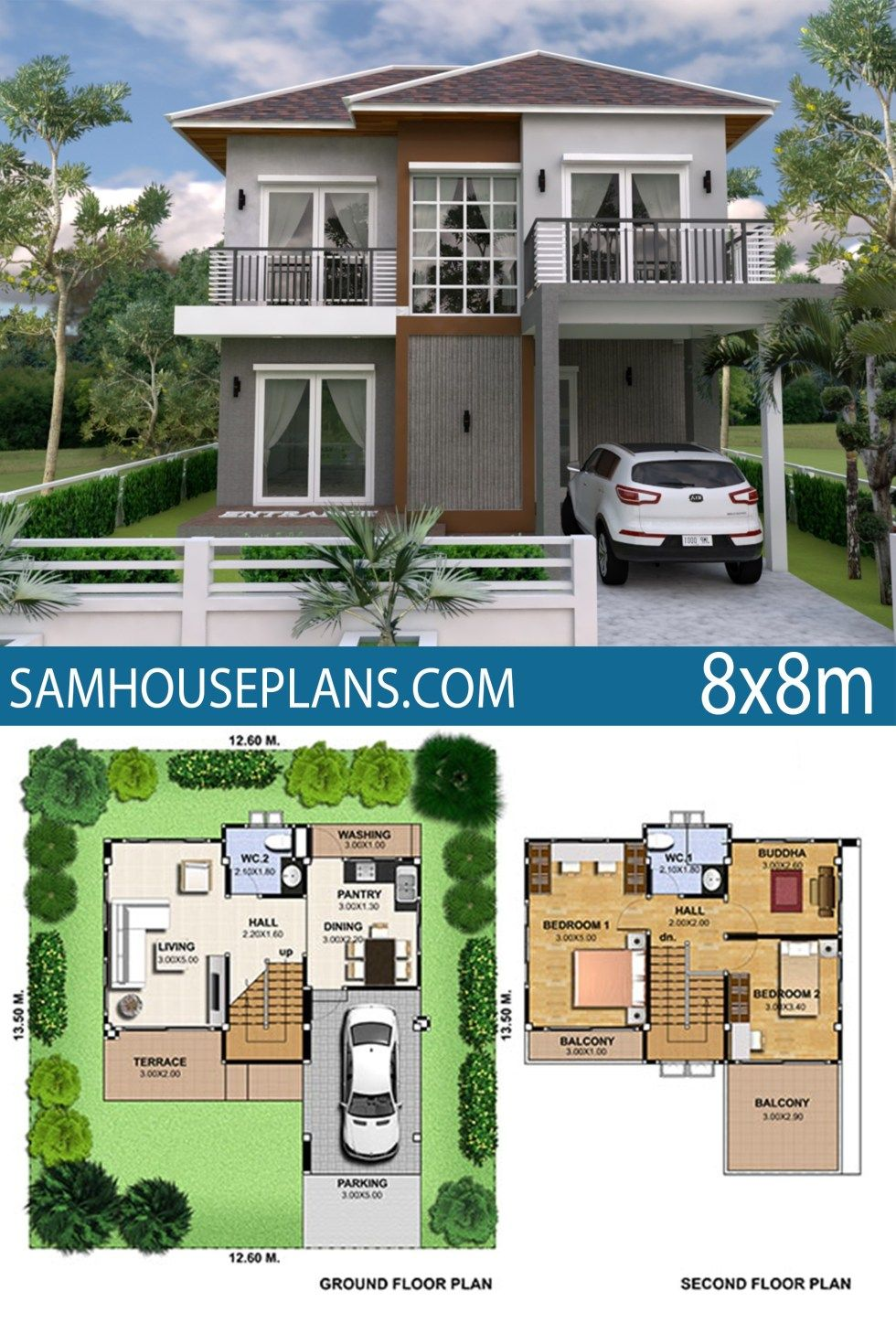 House Plan 8x8m With 3 Bedrooms Sam House Plans Square House Plans Architectural House Plans Two Story House Design
