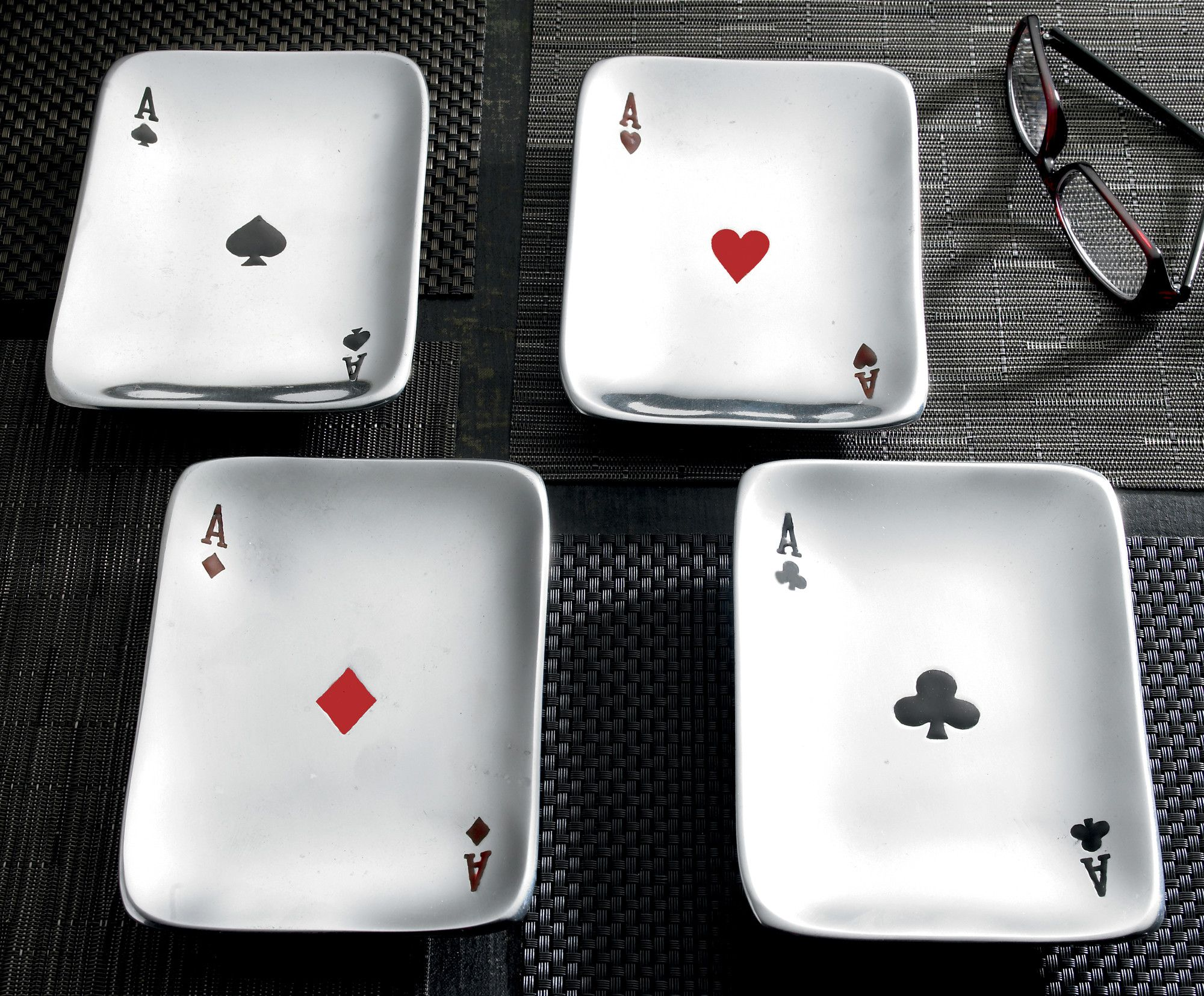 4 Piece Playing Card Aces Snack Dish Set