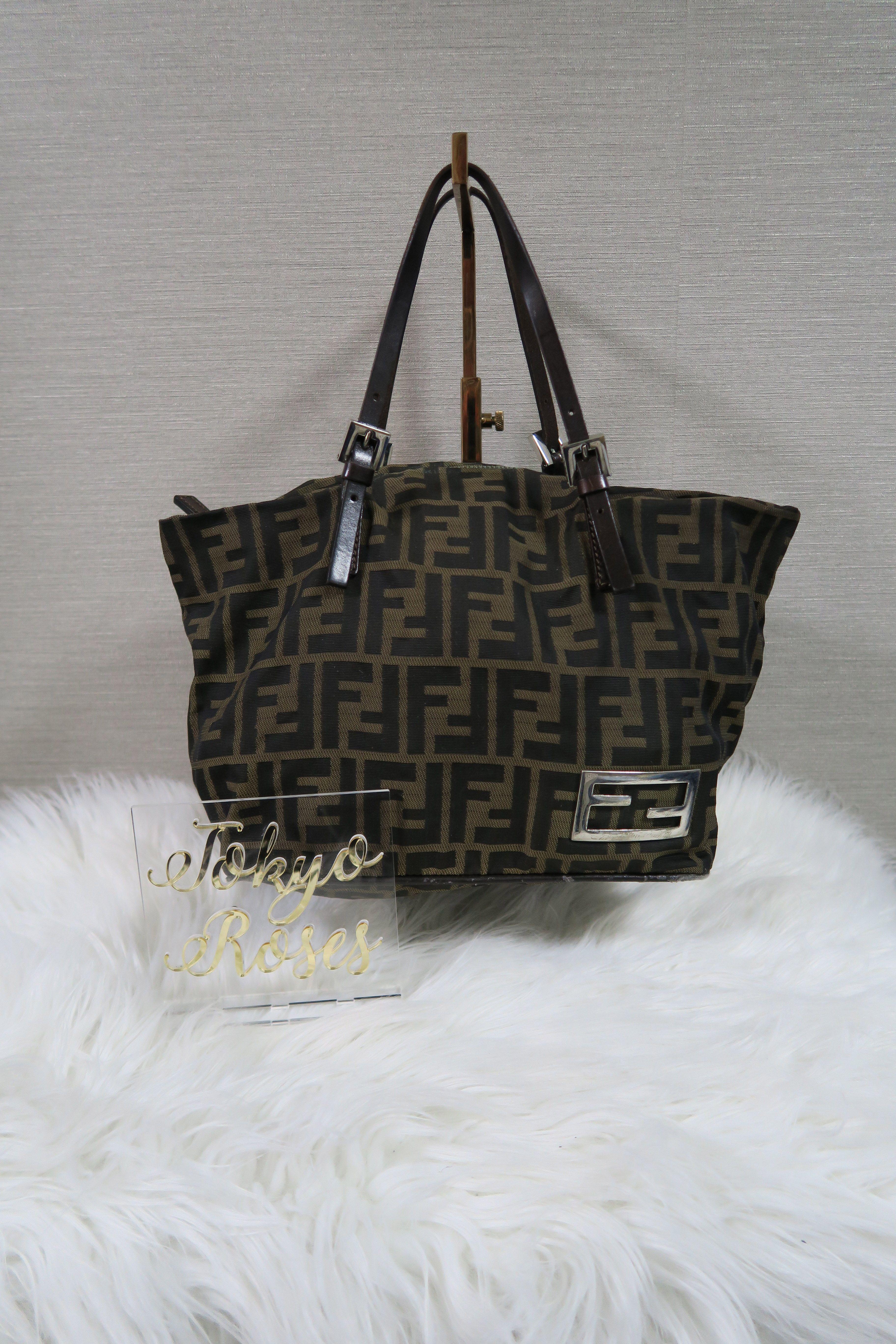 4472fc1a1eea Fendi Handbag FF Logo Monogram Print Bag in 2019