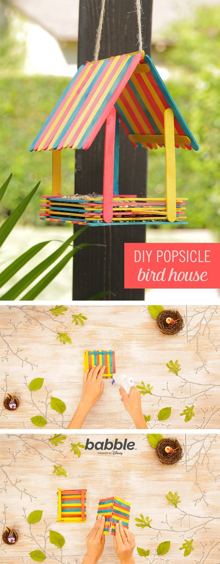 Some colorful popsicle sticks, hot glue, and rope can transform into a fun DIY bird house. Grab your little ones and have some fun with this craft.