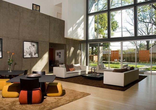 Modernes Wohnzimmer Raumhohe Fenster Design Sofa Gruppen