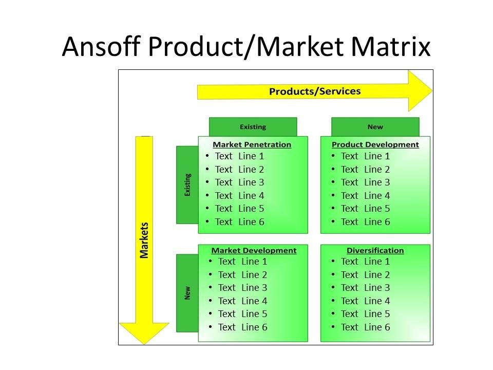 Ansoff's Product Market Strategy Matrix PowerPoint
