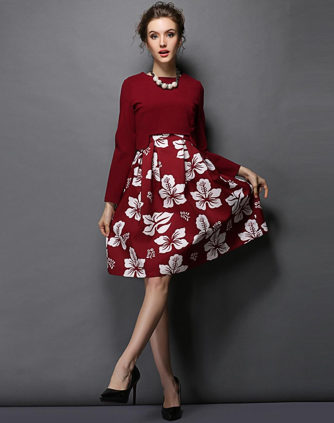 #AdoreWe #VIPme Skater Dresses - OUYALIN Red Floral Pirnted Long Sleeve Skater Midi Dress - AdoreWe.com