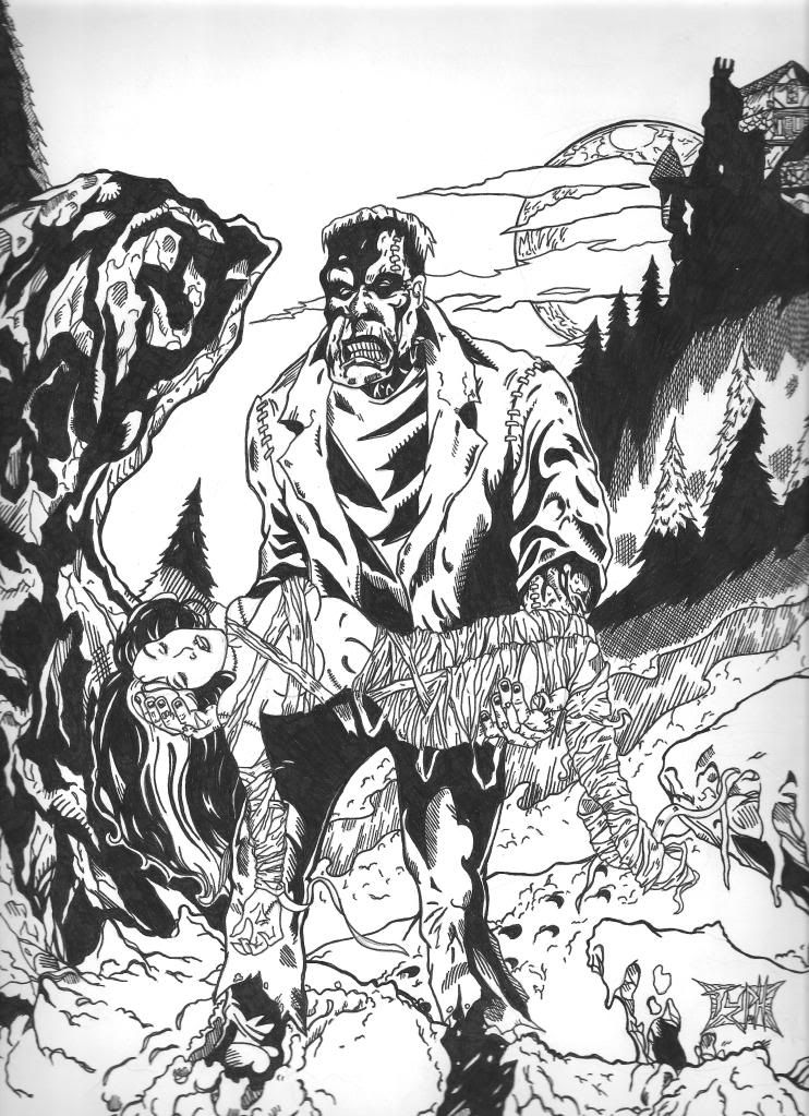 Frankenstein & Bride Horror coloring page | Horror | Pinterest