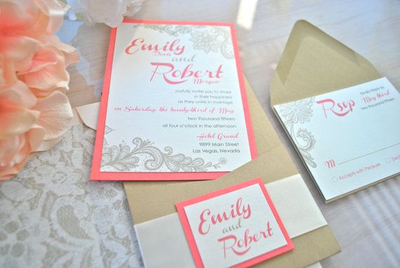 1000 images about Wedding invitations – Wedding Invitations Coral