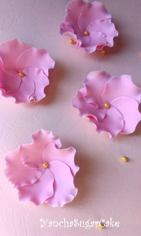 Gumpaste fondant flowers ruffle Wedding favor Bridal shower Baby ...