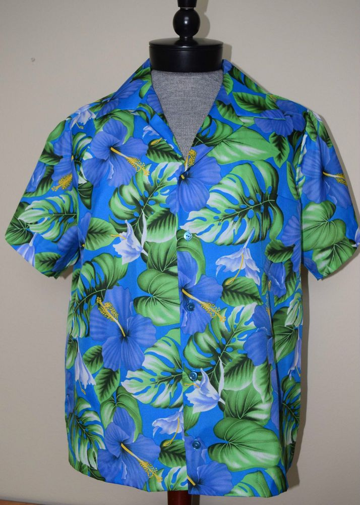82ba05a1 Hilo Hattie Blue Green Purple XL Hawaiian Shirt Hibiscus Monstera Leaf Palm  Fond #HiloHattie #Hawaiian