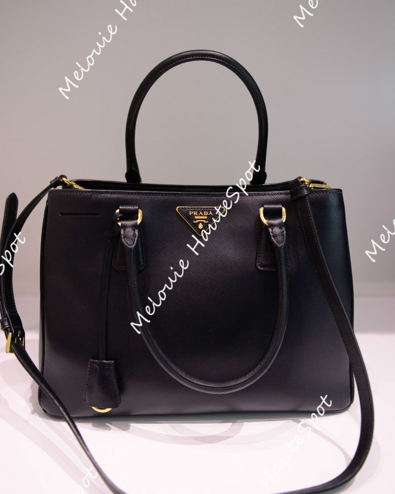 8ccd7a23204e AUTH PRADA TOP HANDLE BLACK NERO BN1874 MEDIUM DOUBLE ZIP CROSS TOTE BAG  MINT #PRADA #TotesShoppers
