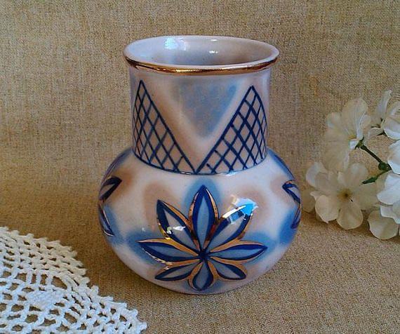 Vintage Porcelain Vase Valentines Day Blue Flower Vase Vintage