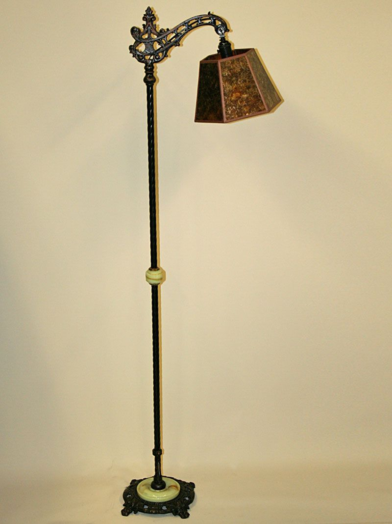 Vintage Cast Iron Bridge Arm Floor Lamp With Floral Motif