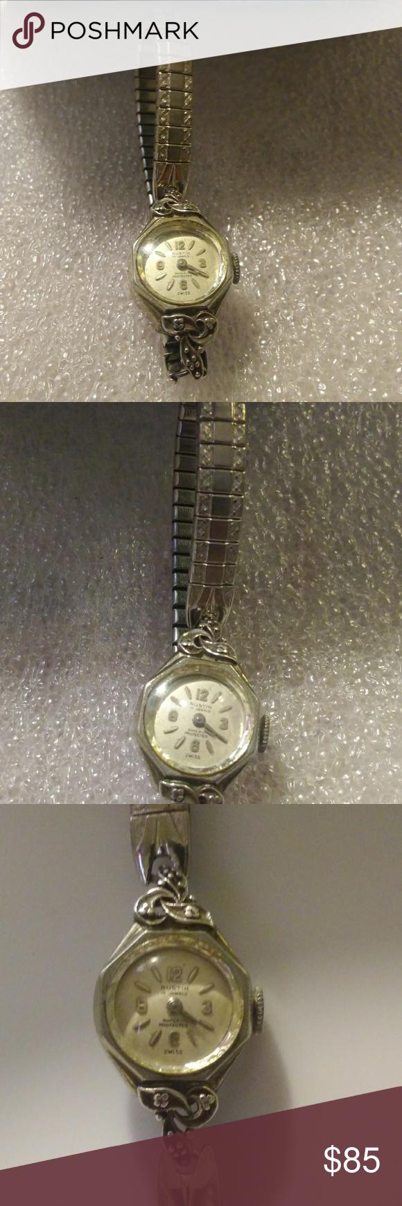 44494e46afff8 Vintage Austin white gold watch Vintage white 10krg Austin 17 jewels ...