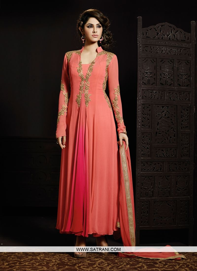 Designer salwar kameez mesmeric peach color net designer suit - Alluring Peach Pink Coloured Semi Stitched Salwar Suit