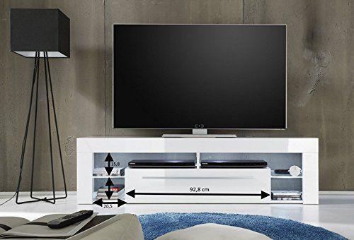 trendteam SC85001 TV Möbel Lowboard, BxHxT 153 x 44 x 44 cm, Weiss - küchen weiß hochglanz