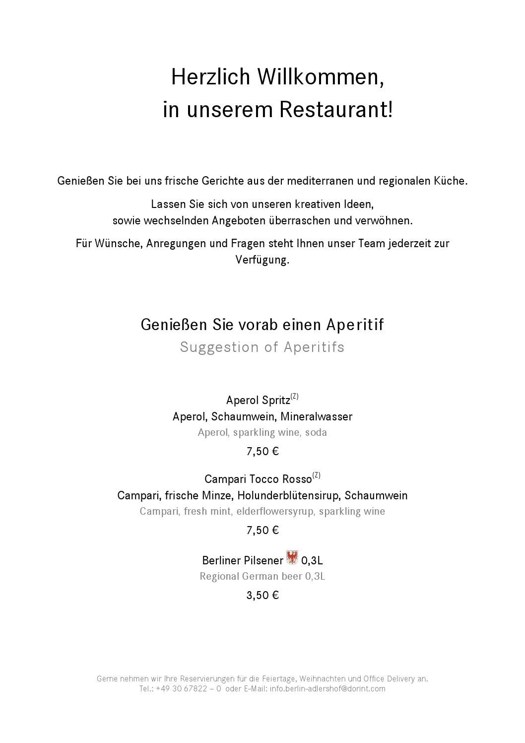 Speisekarte Restaurant Im Dorint Hotel Adlershof Berlin Hotel Hotels And Resorts Resort