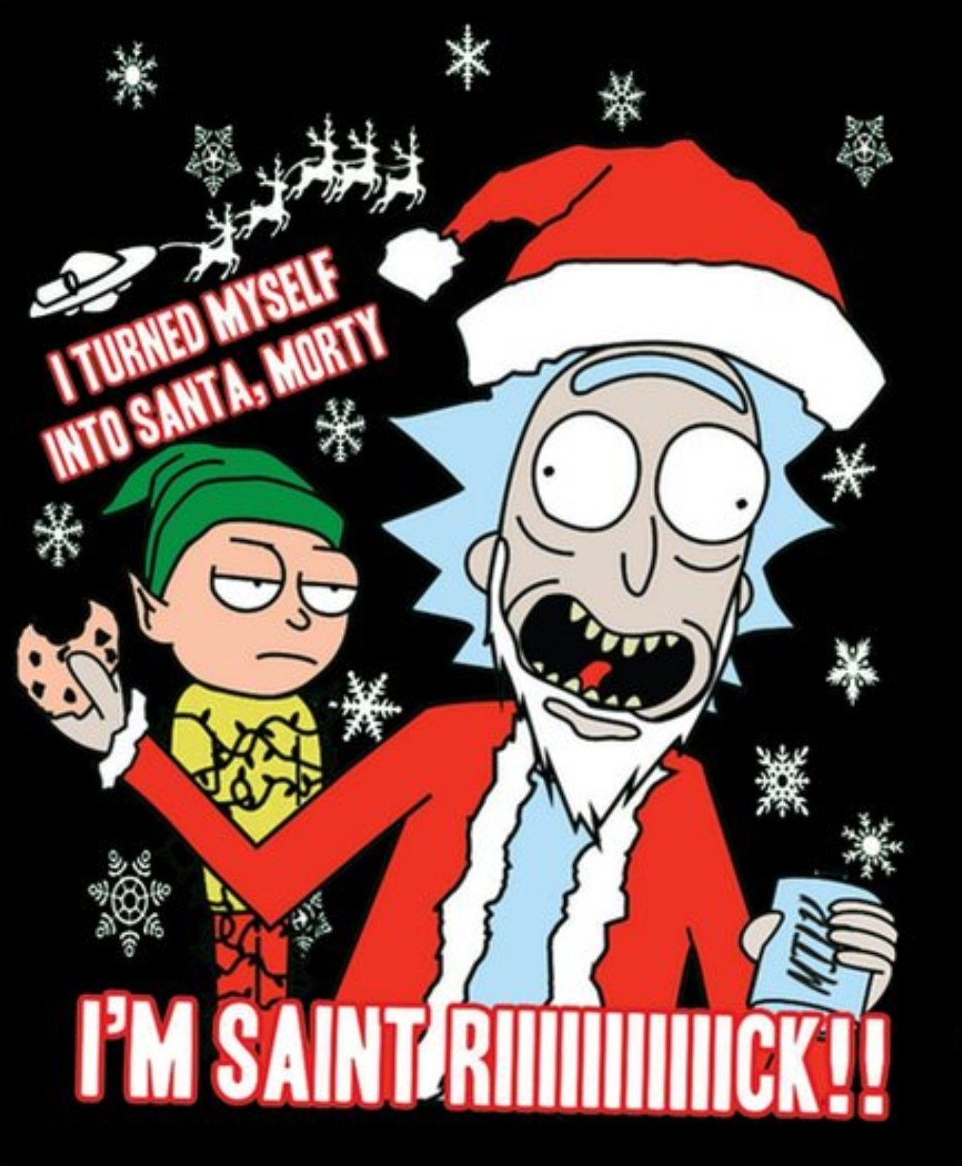 Rick And Morty Christmas.Rick And Morty X Saint Rick Disney Cartoon Rick Morty