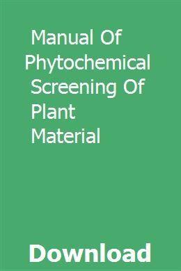 Handbuch zum phytochemischen Screening von Pflanzenmaterial download pdf – 2019 #sichtschutzpflanzen
