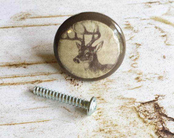 Handmade Deer Birch Knobs Drawer Pulls, Wildlife Cabinet Pull ...