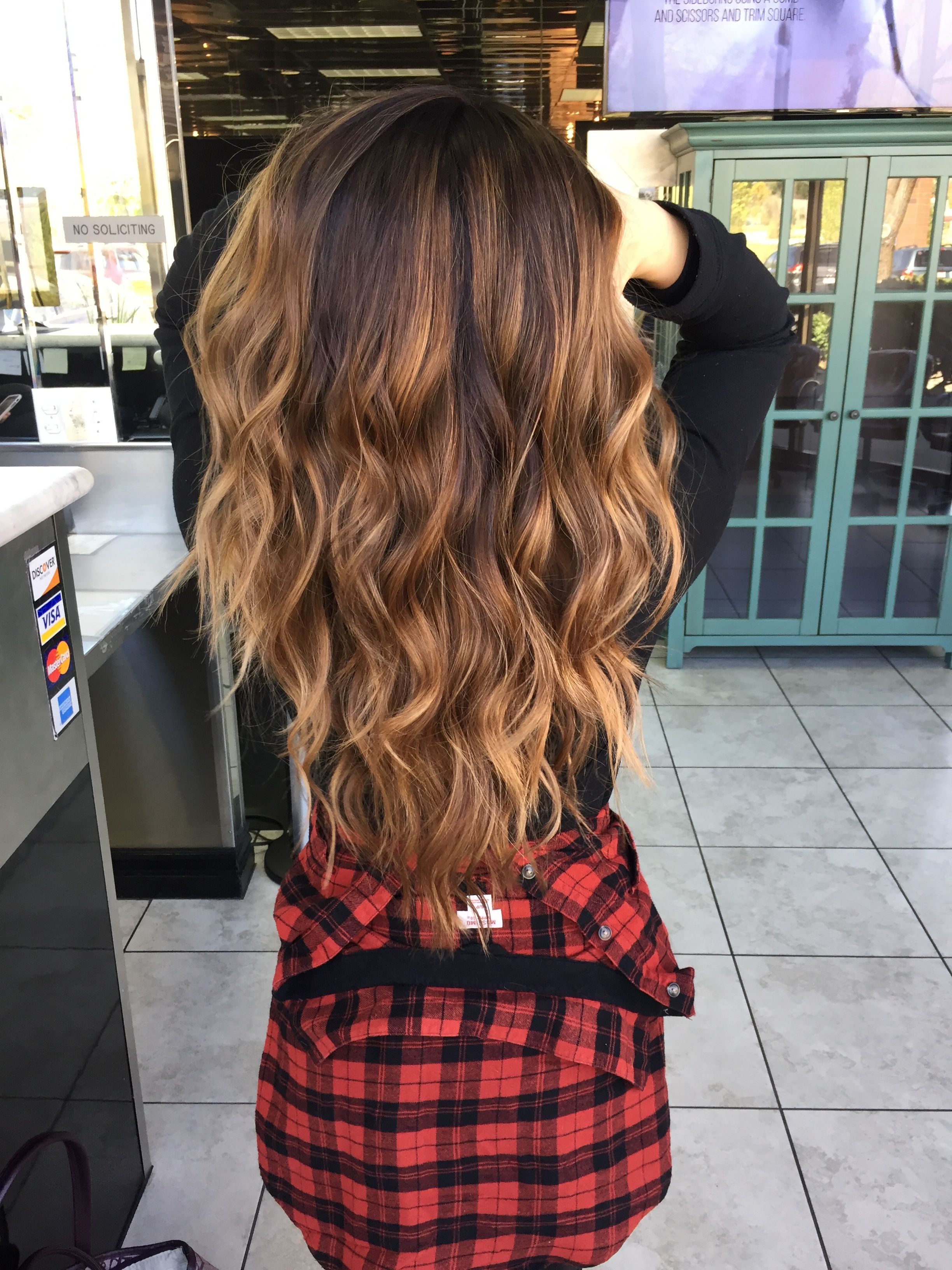 brunette balayage caramel ombr by beautybymakenzie brunette hair pinterest balayage and. Black Bedroom Furniture Sets. Home Design Ideas