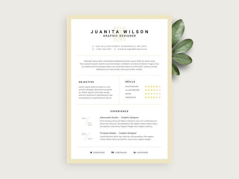 Awesome Simple Resume Template Free Psd Download Simple Resume