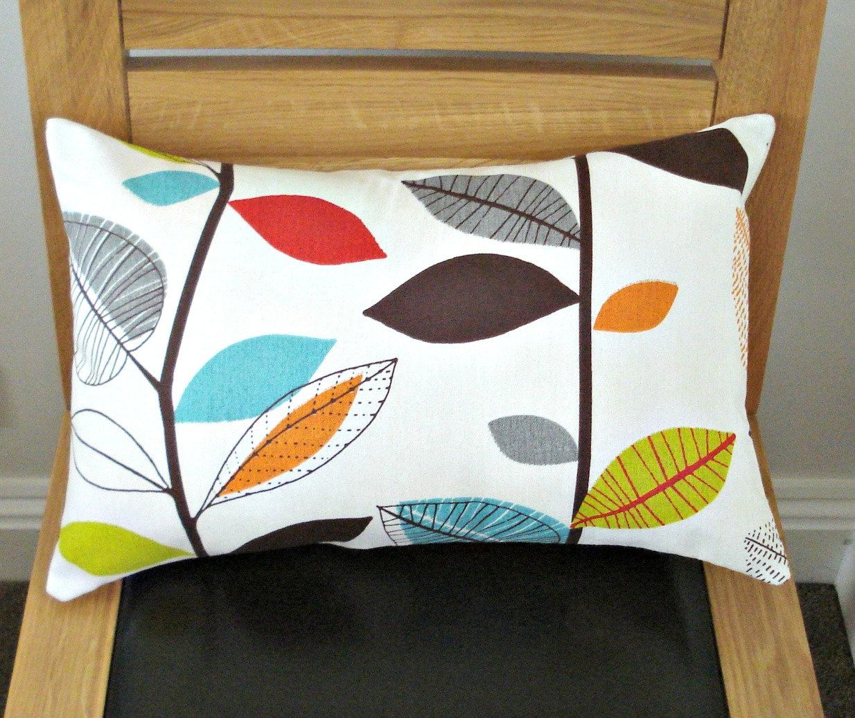 Decorative pillows with blue brown and yellow - Bright Throw Pillow Lumbar Pillow Turquoise Blue Red Orange Yellow Green Brown Gray Grey Leaf Cushion Cover Shams Uk 12 X 18 Inch
