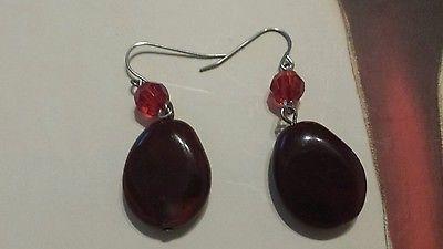 Red Plastic Bead Pierced Earrings
