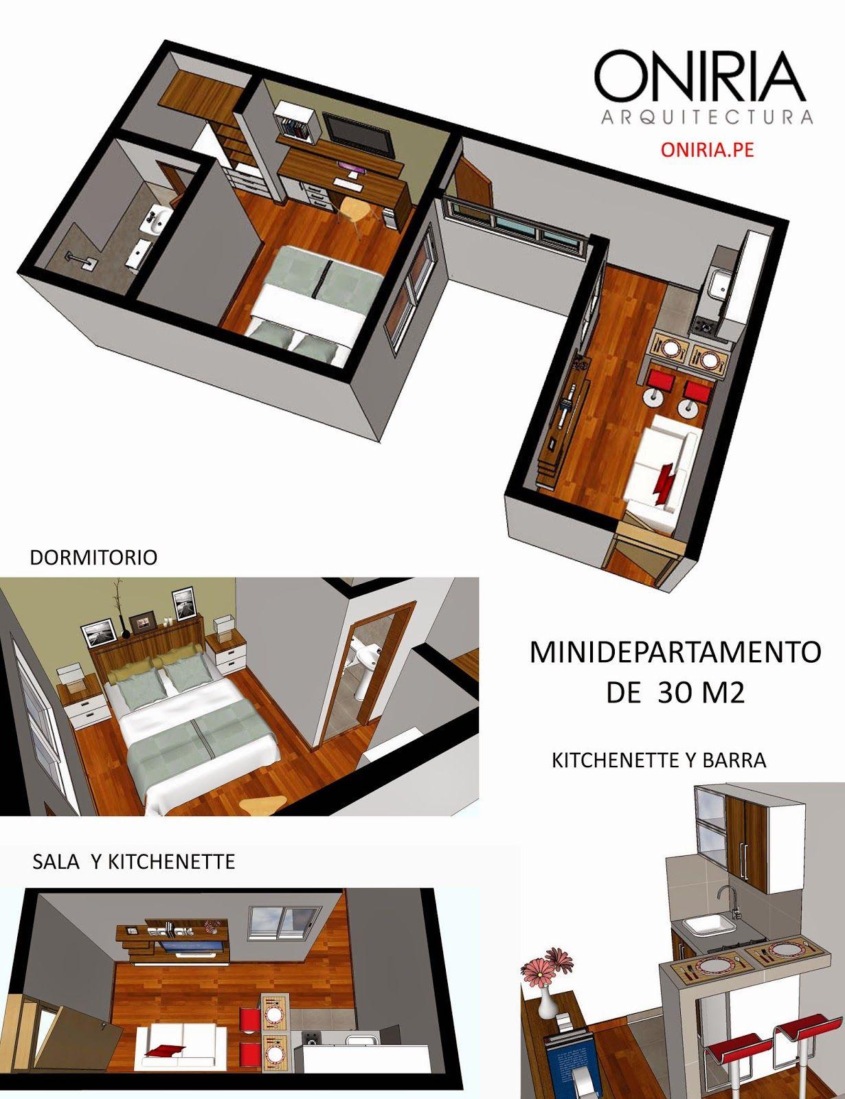 Oniria dise o de minidepartamento de 30 m2 oniria for Diseno minidepartamento