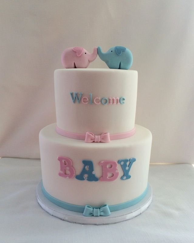 Gender Neutral Baby Shower Cake With Fondant Elephant Toppers