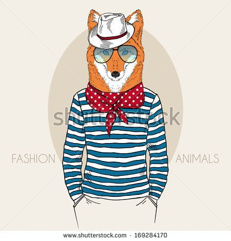 Hand Drawn Fashion Illustration Of Fox Hipster In Colors - 169284170 : Shutterstock