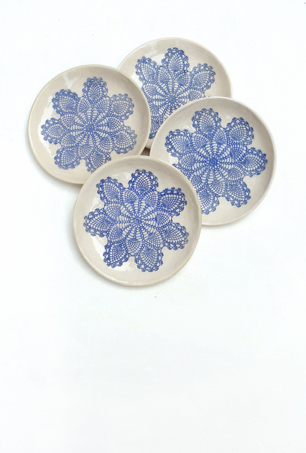 deco serving ceramic plate set lace in blue and white by Tanja Shpal ...