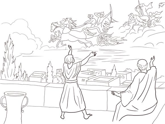 Elisha and the Invisible Angel Army Coloring page. Jehovah ...
