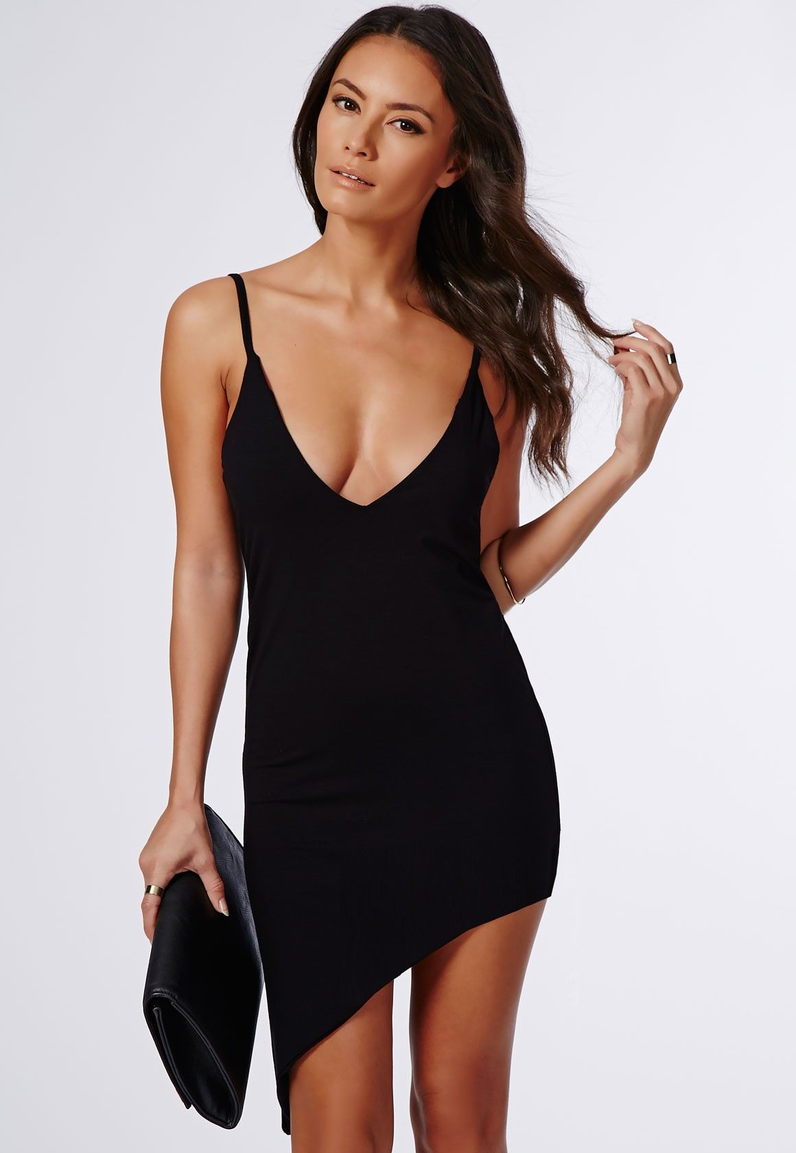 asymmetrical mini little black jersey dress