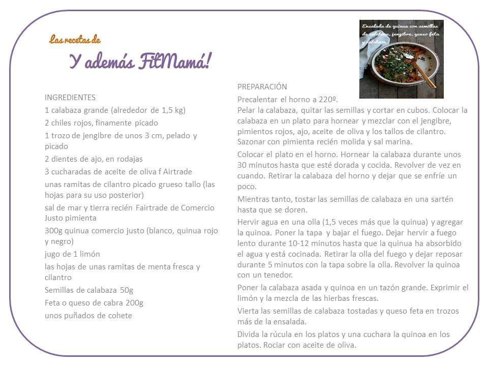 Ensalada de quinua con semillas de calabaza, jengibre, queso feta y calabaza