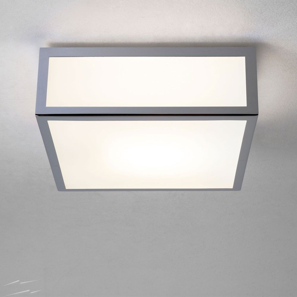 Ax0890 Mashiko 200 Square Bathroom Light In Polished Chrome And White Diffuser Ip44 For Wall Ceiling E27 Astro 1121009 Ceiling Lights Bathroom Light Fittings Bathroom Lighting