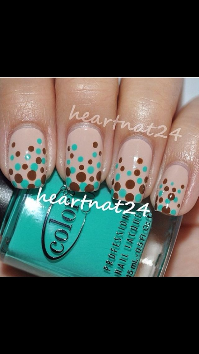 Light tan blue and brown dots