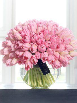 LOVALI london - beautiful display of pink tulips in vase