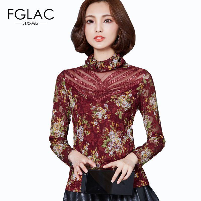 01fec237b0d Aliexpress.com   Buy women blouses New 2016 Autumn Women lace blusas  Fashion plus size women clothing Turtleneck Diamonds women shirts from  Reliable shirt ...