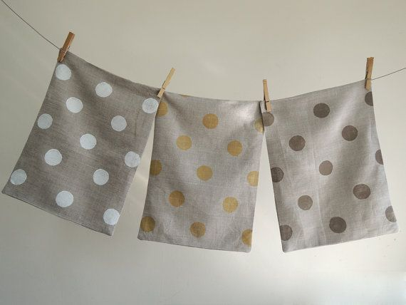 Polka Dot Hand Printed Natural Gray Linen Pillow Case your choice of color 12 x 16 on Etsy, $40.00