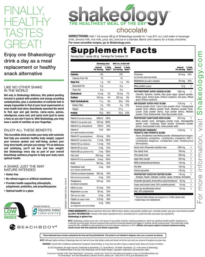 shakeology nutrition facts | gluten free, no refined sugars or