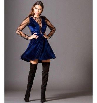 df9f059d770b Βελούδινο Κοντό Κλος Φόρεμα με Τούλι Πουά Ντεκολτέ - Μπλε Ρουά ...