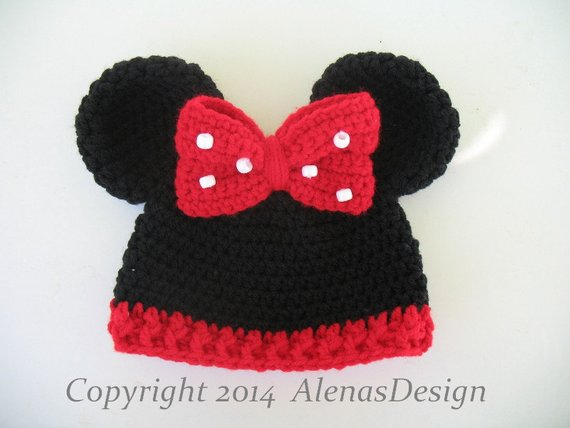 80ec1fbb04c Crochet Hat Pattern Minnie Mouse Hat Mickey Mouse Hat Crochet ...