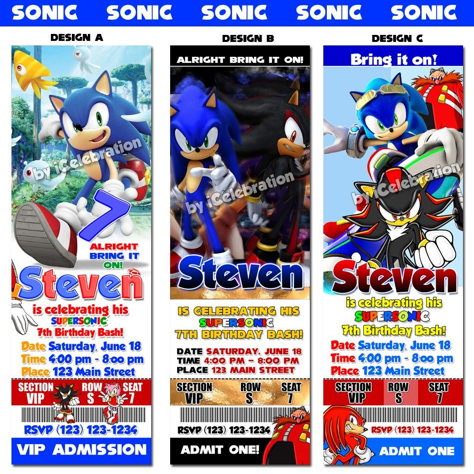 17 Best images about Cashs Sonic the Hedgehog 12th Birthday on – Sonic Birthday Invitations